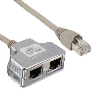InLine® Cat.5e T-Adapter (Port-Doppler), RJ45 Stecker an 2x RJ45 Buchse, 0,15m