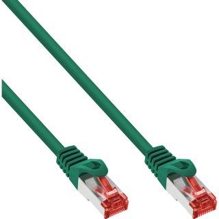 InLine® Patchkabel, S/FTP (PiMf), Cat.6, 250MHz, PVC, Kupfer, grün, 1m