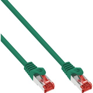 InLine® Patchkabel, S/FTP (PiMf), Cat.6, 250MHz, PVC, CCA, grün, 1m
