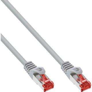 200er Bulk-Pack InLine® Patchkabel, S/FTP (PiMf), Cat.6, 250MHz, PVC, Kupfer, grau, 0,25m